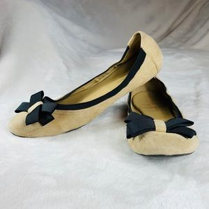 Kate Spade | Beige Suede Bow Ballet Flats